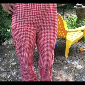 Pants - Vintage high waisted houndstooth polyester trouser